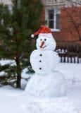 在圣诞老人Clau一个红色盖帽的雪人  免版税库存图片