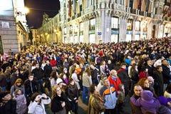 在圣诞节事件的观众在马德里 库存图片