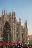在圣诞节假日期间,中央寺院,米兰,意大利大教堂  免版税库存图片
