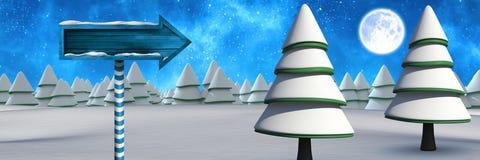 在圣诞节冬天风景的木路标与树 免版税库存照片