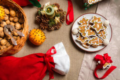 在圣诞节好吃的东西的特写镜头 图库摄影
