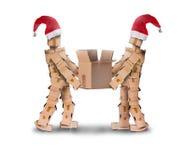 在圣诞节帽子的两boxmen 图库摄影