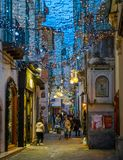 在圣诞节时间,褶皱藻属,意大利,惊人的` Luci d ` Artista `艺术家在萨莱诺点燃 免版税库存照片