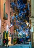 在圣诞节时间,褶皱藻属,意大利,惊人的` Luci d ` Artista `艺术家在萨莱诺点燃 库存照片