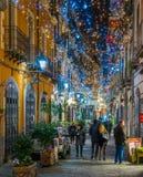 在圣诞节时间,褶皱藻属,意大利,惊人的` Luci d ` Artista `艺术家在萨莱诺点燃 免版税库存图片