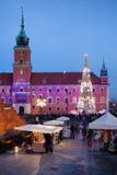 在圣诞节时间的城堡正方形在老镇华沙 库存照片