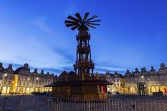 在圣诞节期间的布鲁塞尔大广场在花在法国 免版税图库摄影