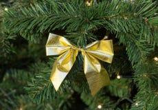 在圣诞节杉树装饰的金弓 库存图片