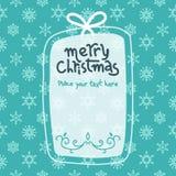 在圣诞节样式设计和布局的白色和蓝色例证模板 库存图片