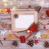 在圣诞节桌上的看法上,与拷贝空间的框架 图库摄影