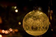 在圣诞节球里面的一个冬天世界 库存照片