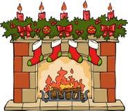 在圣诞节的壁炉 免版税库存照片