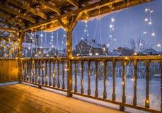 在圣诞节的大阳台 库存照片