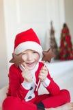 在圣诞节的孩子 库存照片