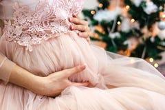 在圣诞节的怀孕的腹部,在背景的圣诞树 库存照片