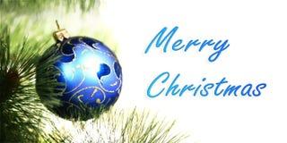 在圣诞节的蓝色圣诞节球 库存图片