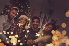在圣诞节的闪烁发光物 库存图片