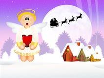 在圣诞节的滑稽的天使 库存照片