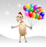 在圣诞节盖帽的快活的山羊有空气的使有大理石花纹 库存照片