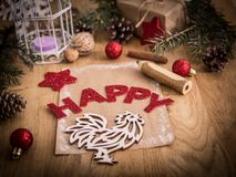 在圣诞节背景的贺卡 庆祝的概念 免版税库存照片