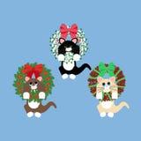 在圣诞节花圈的CAT 免版税库存图片