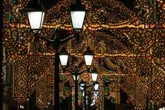 在圣诞节装饰的莫斯科街 库存图片