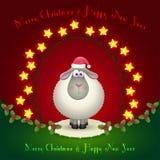 在圣诞节装饰的绵羊 免版税库存图片