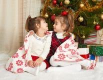 在圣诞节装饰,寒假概念的两个女孩画象,装饰了杉树和礼物 图库摄影