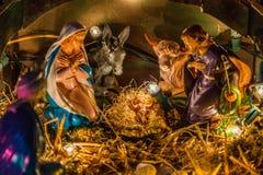 在圣诞节诞生场面的雕象 免版税库存图片