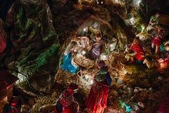 在圣诞节诞生场面的雕象 免版税图库摄影
