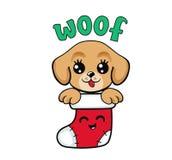 在圣诞节长袜的逗人喜爱的小狗 我首先的圣诞节 向量例证