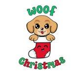 在圣诞节长袜的逗人喜爱的小狗 我首先的圣诞节 皇族释放例证