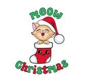 在圣诞节长袜的逗人喜爱的小猫 我首先的圣诞节 皇族释放例证