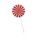 在圣诞节颜色镶边的棒棒糖 与红色和白色条纹的螺旋甜糖果 在白色后面的传染媒介例证 库存图片
