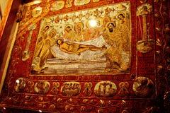 在圣迈泰奥拉岩石的上面的希腊修道院在希腊的中部 06 18 2014年 希腊宗教艺术  免版税库存照片