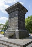 在圣铸工大教堂的喷泉在市科布伦茨 免版税图库摄影