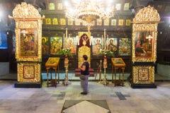 在圣障上在特罗扬修道院的教会里在保加利亚 免版税库存图片