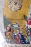 在圣马克` s大教堂的垂直的马赛克细节在威尼斯 库存照片