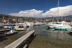 在圣马尔盖里塔利古雷停泊的小船 库存图片