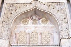 在圣马尔谷教堂大教堂门面的建筑装饰在威尼斯 免版税库存照片
