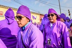 在圣洁星期四,悔罪者,安提瓜岛,危地马拉 库存照片