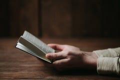 在圣经的妇女手 她读并且祈祷 库存图片