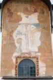 在圣索菲娅大教堂的墙壁上的古老壁画  免版税库存照片