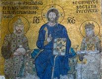在圣索非亚大教堂内部的拜占庭式的马赛克在伊斯坦布尔, Tu 库存图片