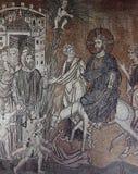 在圣索非亚大教堂大教堂,伊斯坦布尔的拜占庭式的马赛克 免版税库存照片