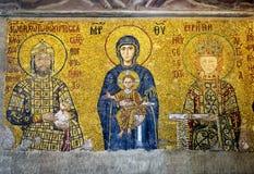 在圣索非亚大教堂的古老马赛克,伊斯坦布尔,土耳其 库存图片