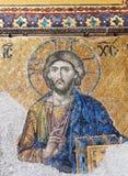 在圣索非亚大教堂的拜占庭式的马赛克在伊斯坦布尔,土耳其 免版税库存图片