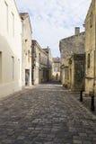 在圣Emilion,红葡萄酒,法国的街道场面 库存照片
