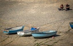 在圣Ives海滩的小船 库存照片