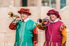 在圣Jonh的骑士的瓜迪亚游行在比尔古,马耳他。 库存照片
